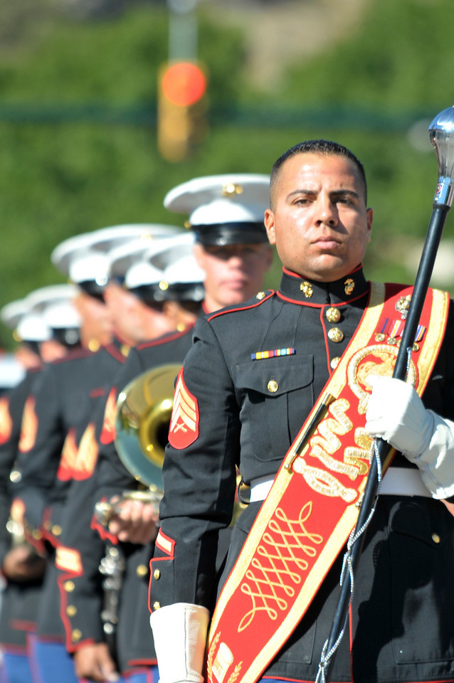 Photo by Walt Hester<br /> The Marine Corps Air Ground Combat Center Marching Band proudly makes their way down Elkhorn Avenue. The band has become a tradition at the Scot Fest Parade.