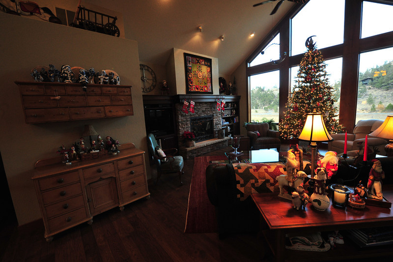 Holiday decorations fill the livingroom of Joe and Pam Meylor.