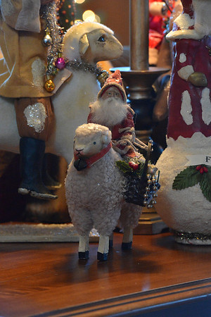Santa rides his sheep at Pam and Joe Meylor's home.