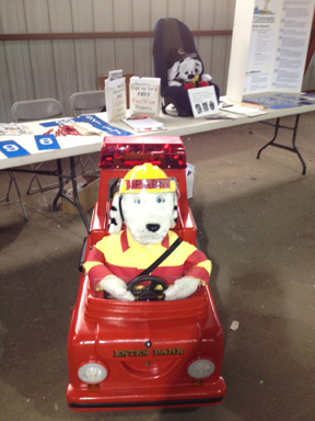 Sparky was ready to greet people Saturday at the May 18 Estes Park Safety Expo at the Stanley Fairgrounds.