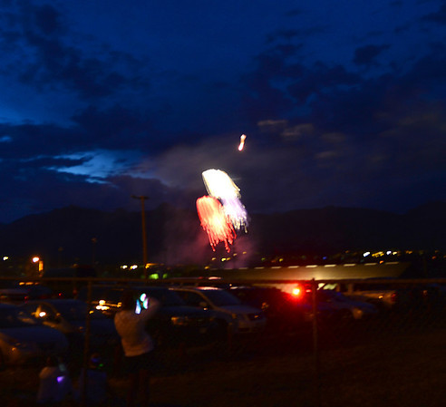Fireworks from the annual Fourth of July show light up the sky Thursday over Lake Estes.
