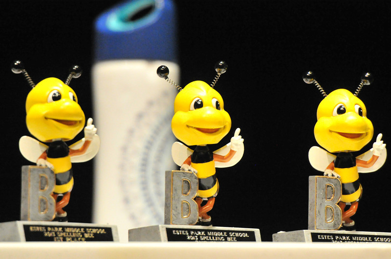 Trophies await winners in the middle school spelling bee on Friday. The bee was open to student from grades 5-8.