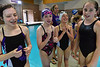 Oters swim club girls enjoy their victory in the 200-yard reestyle relay at Saturday's Silver State meet. The team of Abby Lemirande, Kaelin Flanery, Zoe Hester and Andra McDougall are all smiles after beating all-comers, including the 12 and under Otters boys.