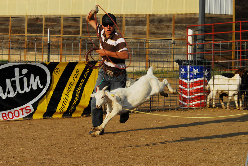 Photo by Walt Hester<br /> Austin Crist, 14, Rocky Ford, CO, Goat Roping on Saturday.
