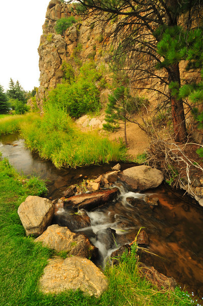 Photo by Walt Hester<br /> A small stream offers relaxation and beauty in the middle of town, behind the Town Hall parking lot, on Saturday.