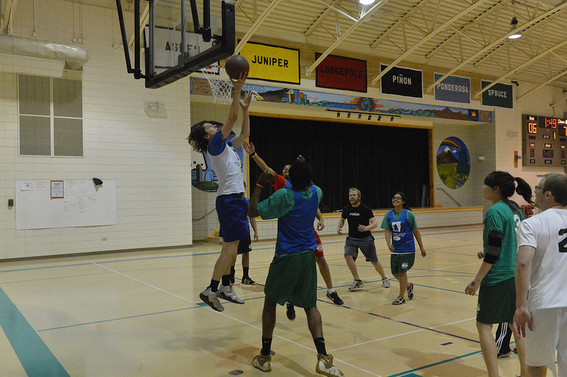 Eagle Rock students and staff play an all-star game on Monday. While sports are intermural at the school, everyone does something, whether team sports or the twice-weekly run from the campus, down to the school's gate and back.