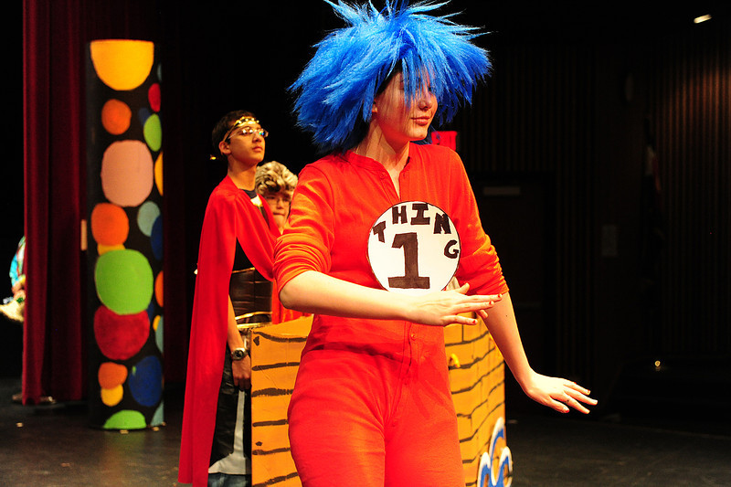 Walt Hester | Trail Gazette<br /> Josi Christianson shuffles across the stage on Tuesday during a dress rehearsal for SeussOdyssey. The middle school will perform their Seussafied version of the Odysse this weekend.