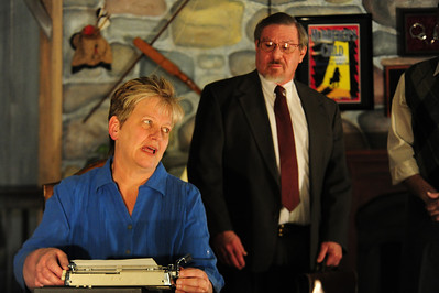 Walt Hester | Trail Gazette New playwrite Chloe Anderson, played by CJ Jensen, explains her day to attorney Porter Milgrim, played by Mike Willborn. Willborn never acted before coming to the Estes Park Repertoire Theatre Company.
