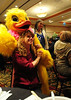 Walt Hester | Trail Gazette<br /> Estes Park Duck Race mascot Quilton T. Canvasback makes an appearence at the annual Taste of Estes on Thursday. The giant duck was making the rounds to remind folks of the charity event which takes place on Saturday from Nicky's Resorts on Fall River Road down stream to the Wheel Bar on Riverside Plaza.