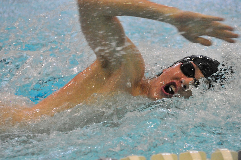 Walt Hester | Trail Gazette<br /> Luke Holmes swims in April. Holmes, along with TJ Hall, Forrest Beesley and Eric Edwards put in a state-qualifying time in the 200-yard freestyle relay against Broomfield last week.