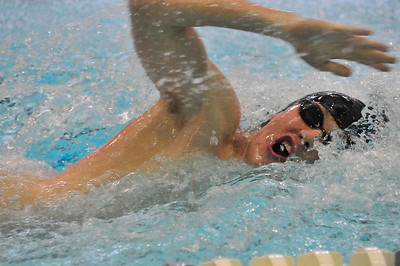 Walt Hester | Trail Gazette Luke Holmes swims in April. Holmes, along with TJ Hall, Forrest Beesley and Eric Edwards put in a state-qualifying time in the 200-yard freestyle relay against Broomfield last week.