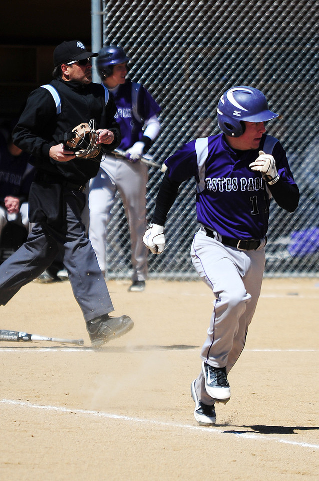 Walt Hester | Trail Gazette<br /> Josh Hays bolts for first base during the Bobcats Saturday against the Strasburg Indians. The 'Cats lost a slugfest that produced 32 runs between the teams.