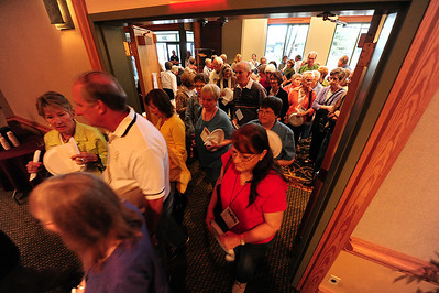 Walt Hester | Trail Gazette Fans of food rush into the Estes Park Conference Center on Thursday. The Quota Club's annual Taste of Estes is one of the most popular events among locals.
