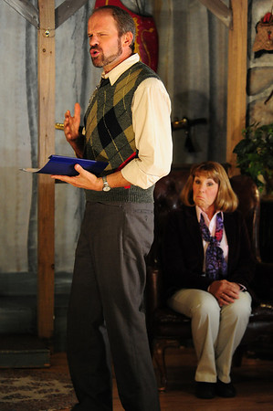 "Walt Hester | Trail Gazette<br /> Sidney Bruhl, played by Michael Young, explains to his wife, Myra, played by Christann Higley, how great, and therefore, annoying, a play written by a former student has turned out. The EPRTC production, ""Deathtrap"", will be at the Hemple Auditorium for the next two weekends."