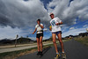 Walt Hester | Trail Gazette<br /> Tom Denniss, right, runs with local runner and coach Terry Chiplin along Big Thompson Avenue on Wednesday. Denniss is running around the world to raise money for the international anti-poverty charity OxFam.