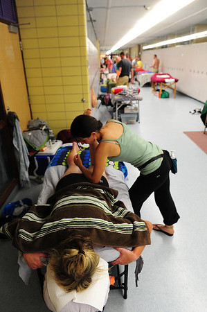 Walt Hester | Trail Gazette<br /> Dani Nash of Denver gets an elbow into a massage on Tuesday, June 12, in Leadville. While regarded by some as a luxury, massage can make the differents between a nice, long day in the saddle and a ride in the sag wagon.