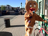 Walt Hester | Trail Gazette<br /> An odd vision taunted cyclists as they left Leadville on the Ride the Rockies' 94-mile longest day on Wednesday, June 13. The giant gingerbread man was rounding up business for Cookies with Altitude in the nation's highest incorporated town, 10,200 feet above sea level.