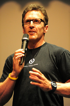 Walt Hester | Trail Gazette<br /> US cycling legend Davis Phinney talks to fans at the Estes Park High School during Ride the Rockies on Thursday. Phinney talked about his past but also the future of Cycling as his son, Taylor, was named the next day, to the US Olympic cycling team.