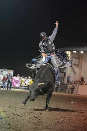 Walt Hester | Trail Gazette<br /> A bull rider entertains the big crowds at the Rooftop Rodeo in July. The rodeo enjoyed six nights of top-notch rodeo competition.