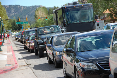 Labor Day weekend crowds created gridlock Sunday afternoon along Elkhorn Avenue in downtown Estes Park.