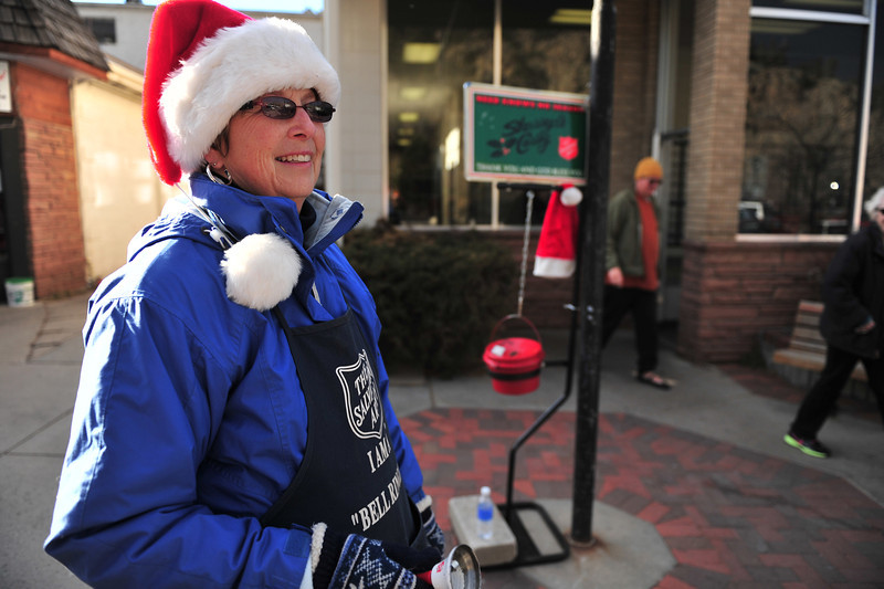 Joan Allen of Estes Park rings the bell for the Salvation Army on Wednesday.  The Salvation Army began its bell-ringing campaign last weekend.