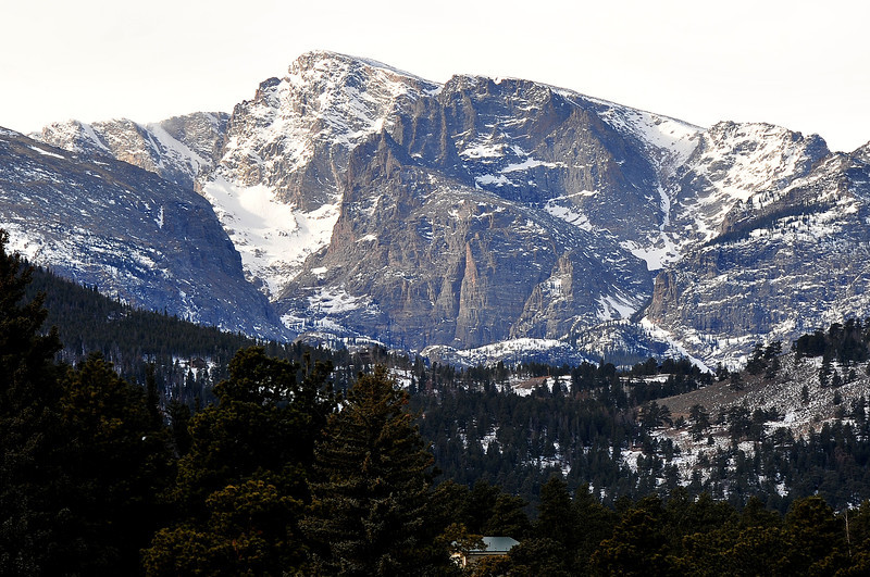 The snowy crags of Taylor Peak loom above the national park on Thursday. While the peaks look snowy, the South Platte River Basin snowpack is currently 55 percent of normal and only 59 percent of what the mountains had a year ago.