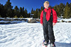 Josh Lurkins, 11, of Wellington, Colo., stands atop fluffy, though not very deep, snow at the Winter Trails Day demo area in Rocky Mountain National Park on Saturday. The event gives outdoor enthusiasts the chance to enjoy the newest styles and technology in snowshoes.