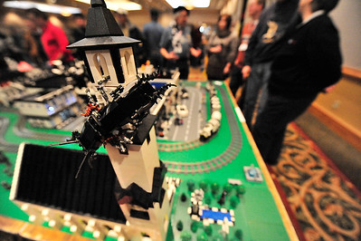 Walt Hester | Trail Gazette A giant mechanical bug crawls on a steeple in the lego display at the train show on Saturday. The annual event draws visitors to see all kinds of displayes, but this year, the legos garnerd most of the attention.