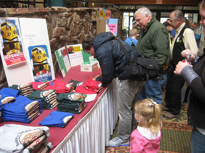 Crowds sign up for train memorabilia at the Rails in the Rockies model train show on Sunday.