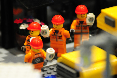 Walt Hester | Trail Gazette Construction workers head back to work after their coffee break. The longer a fan sat and looked at the Lego display, the more entertaining details were revealed.