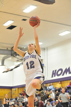Walt Hester | Trail Gazette<br /> Amanda Dill lays up a shot last week against Platte Valley. Dill led the Ladycats in scoring against Eaton, but with only seven points.
