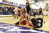 Walt Hester   Trail Gazette<br /> Morgan Morris appeals to the official during the first half of Fridays first-round tilt with Platte Valley. The Ladycats won 49-34 and advanced to play the top seed Eaton Reds on Tuesday night.