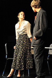 "Walt Hester | Trail Gazette Paula Thompson, played by Jennifer Klink, plots with Jordan Starkweather, played by Sean Cody, to get a slice of inheritance during the Estes Park High School's dinner theater performance of ""Murder is in the Heir."" The dinner theater runs Friday and Saturday nights beginning with dinner at 6 p.m., followed by the performance, with a matinee on Saturday beginning at 1:30."