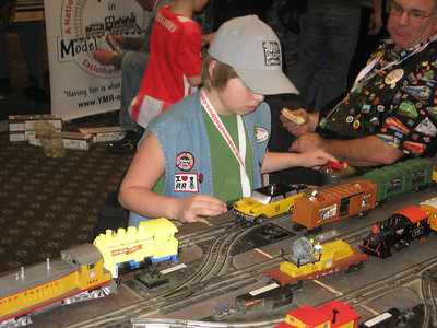It's under control -- a child makes the model trains clackety-clack at the Rails in the Rockies show last weekend.