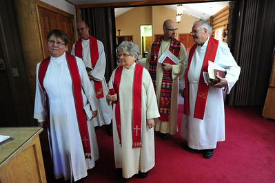 Walt Hester | Trail Gazette Clergy gather for an interfaith Good Friday service at St. Bartholomew Episcopal church. Six denominations were represented at the service.