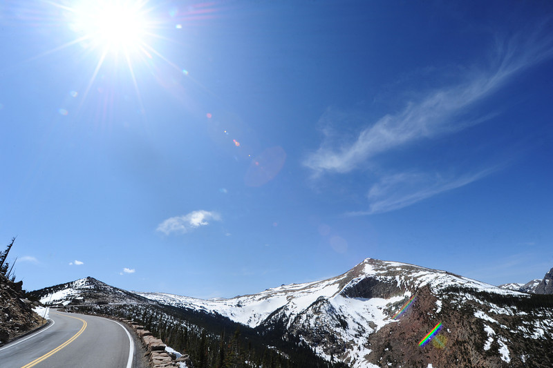 Walt Hester | Trail Gazette<br /> Sunshine and clear skies continue above Trail Ridge Road on Monday. After the dryest March on record, the nations highest continuous byway is nearly drivable two months earlier than last year.
