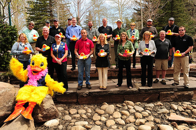 Walt Hester | Trail Gazette The biggest sponsors of the 2012 Estes Park Duck Race gather at Riverside Plaza, near the finish line of the annual race. Big sponsors include Cheley Camps, EPMC, Key Bank and Eagle Rock School to name just a few.