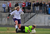 Walt Hester | Trail Gazette<br /> Estes Park forward Karin Kngswood powers through Berthoud's goalkeeper for the Ladycats' second goal in the team's 2-0 win. It was Kingswood's second goal of the season and the soccer team's third straight win.