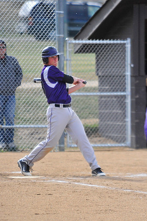 Walt Hester | Trail Gazette<br /> Cam Bogener swings against Berthod last week. Bogener has put up solid balling numbers so far this season.
