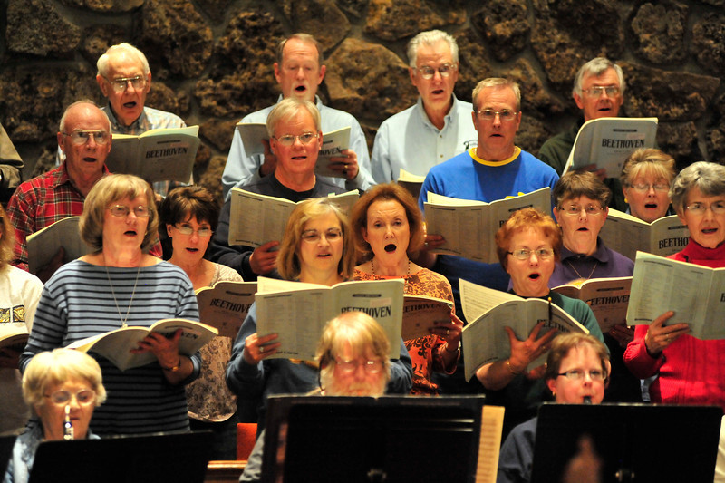 Walt Hester | Trail Gazette<br /> The Oratorio Society's chorus belts out Beethoven's Mass in C during rehearsal on Monday evening. They will also sing Mozart during their concert this weekend.