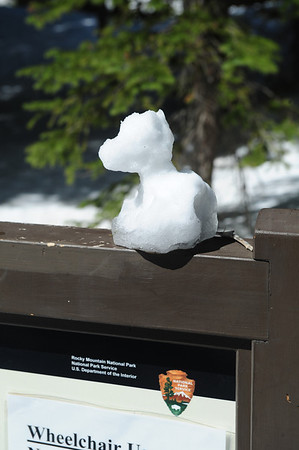 Walt Hester | Trail Gazette<br /> A snow sculpture sits atop an interprative sign at Bear Lake on Wednesday. Snow often brings out the creative side in park visitors.