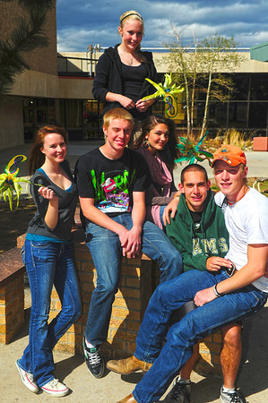 Walt Hester | Trail Gazette<br /> The royalty for Estes Park High School's prom royalty hangs out at the school on Wednesday. From left they are Katie Claypool, Cody McCracken, Hanna Steadman, Tina Bryson, Ryan Zipp and Cain Bratrud.