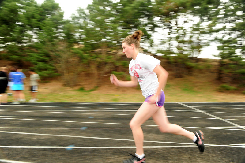 Walt Hester | Trail Gazette<br /> Sprinter Faith Weibel works out on Wednesday. Weibel set PRs in all of her events on Saturday.