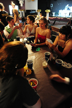 Walt Hester | Trail Gazette<br /> Kids enjoy card games and more music at the after prom party early Sunday morning at the Village Playhouse. The space has hosted the post-prom event for several years.