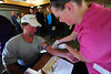 Walt Hester | Trail Gazette<br /> Ginny Mitchell draws blood from James Fretz at the Estes Park Medical Center on Saturday. The annual Health Fair drew crowds to the medical center for the morning.