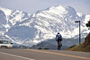 Walt Hester | Trail Gazette<br /> A cyclist grinds up Moraine Avenue toward Rocky Mountain National Park on Wednesday. Warmer weather is coaxing cyclists, runners and climbers out to the scenery of Estes Park.