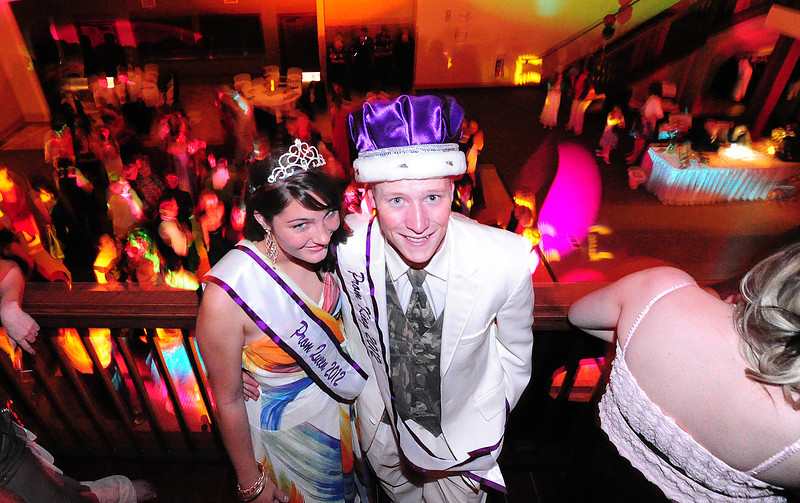 Walt Hester | Trail Gazette<br /> Tina Bryson and Cain Bratrud are royalty for the night, 2012 Estes Park High School Prom king and queen. The school celebrated their rite of spring on Saturday night with the dance at Ravencrest Chalet and after-prom at the Village Playhouse.