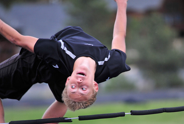 Walt Hester | Trail Gazette<br /> Andrew Cirone clears the practice bar on Wednesday. Cirone took first place in the event on Saturday and set a PR in the 100 meters.