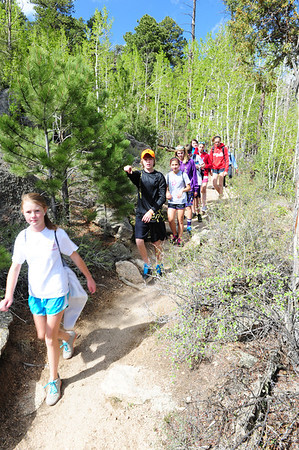 Walt Hester | Trail Gazette<br /> Students from the Kent Denver School make their way back to their bus at the Gem Lake Trail Head. With the warm sprong weather upon us, schools from the front range are traveling to Rocky Mountain National Park to get kids out and expose them to nature.