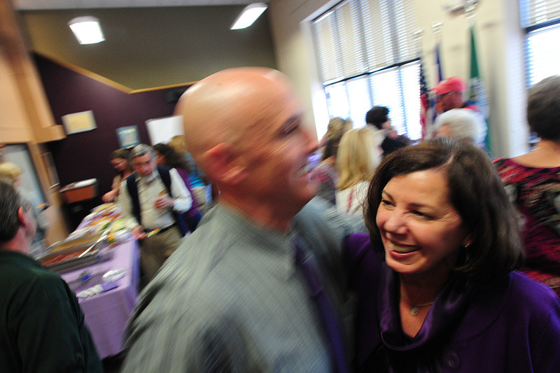 Walt Hester | Trail Gazette<br /> Estes Park R3 Schools superintendent Linda Chapman receives a hug from high school principal Jeff Lund at a retirment party for Chapman. Chapman has been with the district in some capacity for nearly 20 years.